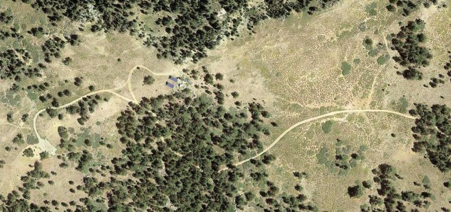 Google earth view of the point and trail leading up to it
