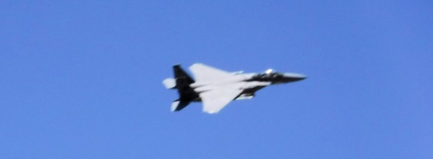 We were buzzed by fighters from China Lake, I believe. This looks like an F-22.