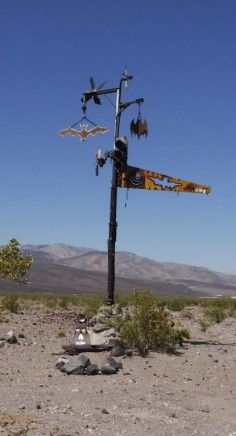 The famous Bat Pole after t=you turn off Saline Valley Road.