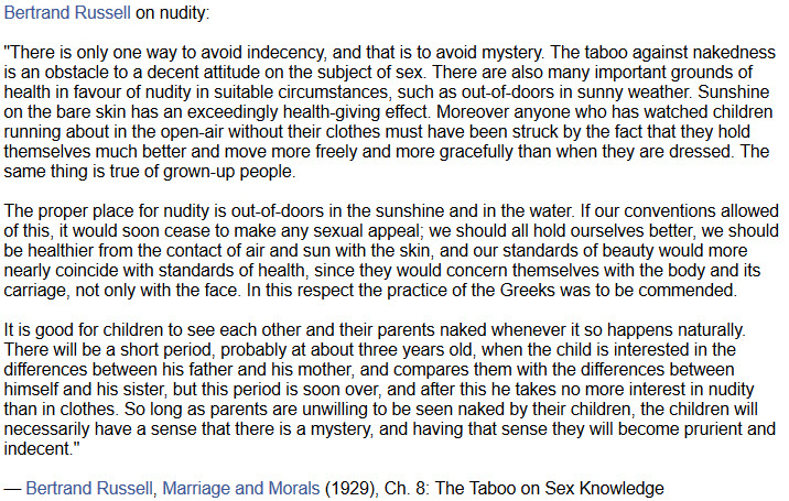 Bertrand Russel on nudity a